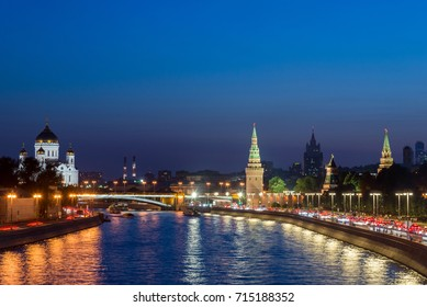 moscow cityscape, view of Moscow Kremlin and embankment of Moscow river in Moscow, Russia, sunset view