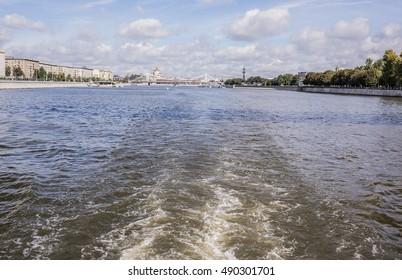 Moscow. Crimean bridge.Under the bridge float ships