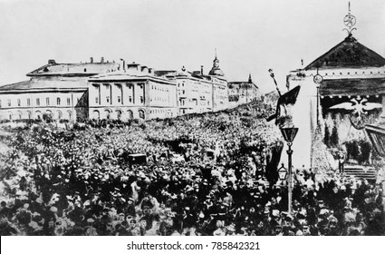 Moscow crowd celebrating Czar Nicholas IIs October Manifesto, 1905. It announced Liberal reforms including freedom of conscience, speech, and assemblage. It also pledged that no law would be passed un