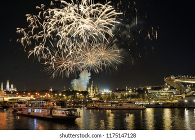 Moscow Day was celebrated with a spectacular fireworks display on Saturday, September 08, 2018, as part of the Russian Capital's City Day. View from Raushskaya embankment on main attractions.