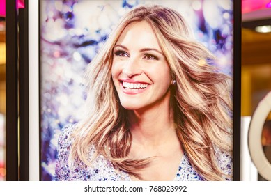 MOSCOW - DEC 03: Julia Roberts on a poster for advertising in Moscow on December 03. 2017 in Russia, Julia Fiona Roberts is an American actress and producer.