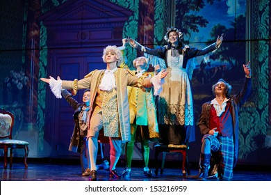 MOSCOW - DEC 15: Actors group on stage during musical spectacle for children Treasure Island at Big Concert Hall Izmailovo, December 15, 2012, Moscow, Russia.