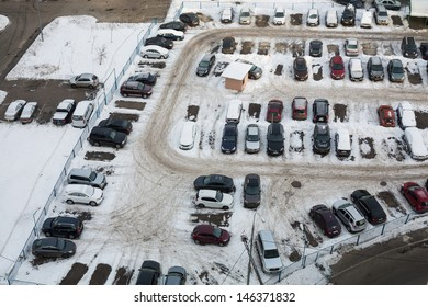 MOSCOW - DEC 22: Guarded parking with many cars in winter on December 22, 2012 in Moscow, Russia.