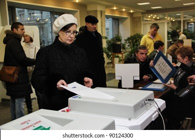 MOSCOW - DEC 4 - Parliamentary elections in Russia: an unidentified woman votes on december 4, 2011 in Moscow