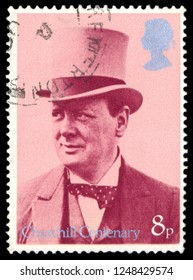 MOSCOW, December 1, 2018:  British Used Postage Stamp showing Sir Winston Churchill, circa 1974