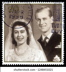 MOSCOW, December 1, 2018: British Postage Stamp celebrating the Golden Anniversary of the 1947 Royal Wedding of Queen Elizabeth 2nd, showing wedding picture, circa 1997