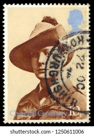 MOSCOW, December 1, 2018:  A British postage stamp printed in the United Kingdom depicting Winston Churchill as a young man, Circa 1960