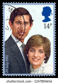 MOSCOW, December 1, 2018: canceled stamp printed in Great Britain shows marriage of Lady Diana Spencer and Prince Charles, circa 1981. Marriage take place in St. Paul's Cathedral.