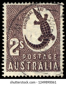 MOSCOW, December 1, 2018: CIRCA 1950-th: A stamp printed in Australia shows saltwater crocodile, circa 1950-th