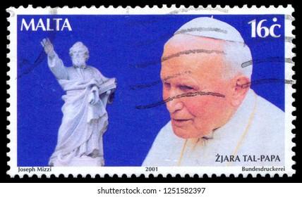 MOSCOW, December 1, 2018:  Malta - Circa 2001: A stamp printed in Malta shows John Paul II (1920-2005), statue, series, circa 2001