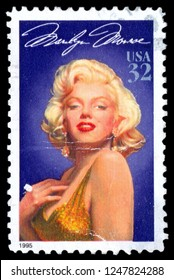 MOSCOW, December 1, 2018: Marilyn Monroe(1926-1962), American actress and model. One of the most popular sex symbols of the 1950s, a major popular icon in USA. Stamp issued by USPS in 1995.