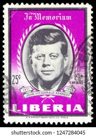 MOSCOW, December 1, 2018: Postage stamp printed in Liberia showing the portrait of President John Kennedy, circa 1963