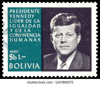 MOSCOW, December 1, 2018: Postage stamp printed in Bolivia showing the portrait of President John Kennedy, circa 1964