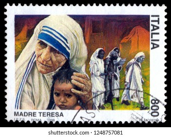 MOSCOW, December 1, 2018:  a postage stamp printed in Italy showing an image of Nobel Peace Prize winner Mother Teresa, circa 1998.