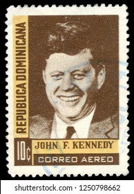 MOSCOW, December 1, 2018: Postage stamp printed in dominicana showing the portrait of President John Kennedy, circa 1964