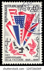 MOSCOW, December 1, 2018: A stamp printed in France issued for the 20th Anniversary of Victory in the Second World War. circa 1965.