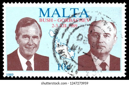 MOSCOW, December 1, 2018: A stamp printed in Malta shows Mikhail Sergeyevich Gorbachev - General Secretary of the Communist Party of Soviet Union and U.S. President George W. Bush,