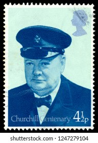 MOSCOW, December 1, 2018: A stamp printed in United Kingdom shows Sir Winston Spencer Churchill (1874-1965), Lord Warden of the Cinque Ports 1942, politician, circa 1974