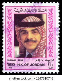 MOSCOW, December 1, 2018: A stamp printed in the Jordan, depicts King Hussein, circa 1987