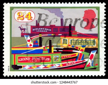 MOSCOW, December 1, 2018: A stamp printed in United Kingdom shows Brentford Braunston, Grand Junction, Midland Maid London, circa 1993