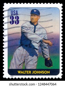 MOSCOW, December 1, 2018: A stamp printed in USA dedicated to Legends of Baseball shows Walter Johnson, 2000