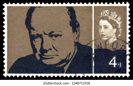 MOSCOW, December 1, 2018:  A stamp printed in UK, shows Sir Winston Spencer Churchill (1874-1965), Former British Prime Minister, statesman and World War II leader, circa 1965
