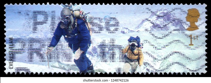 MOSCOW, December 1, 2018:  a stamp printed by UNITED KINGDOM shows Mont Everest first successful ascent by Edmund Hillary and Tenzing Norgay (1953), circa 2003.
