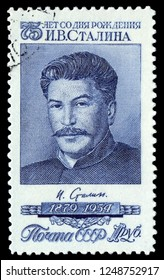 """MOSCOW, December 1, 2018:  A stamp printed by the Soviet Union Post is a entitled """"75 years from the date of birth of I.V.Stalin"""" , circa 1954"""
