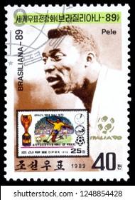 MOSCOW, December 1, 2018: A stamp printed in Korea shows Edson Arantes do Nascimento Pele, circa 1998