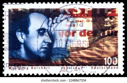 MOSCOW, December 1, 2018: A stamp printed in Gemany, shows Wolfgang Borchert (1921-47), Writer, circa 1996