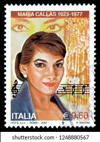 MOSCOW, December 1, 2018: A stamp printed by Italy, shows Maria Callas, Opera Singer, circa 2007
