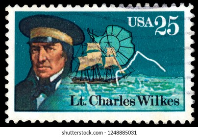 MOSCOW, December 1, 2018: a stamp printed in the USA shows Lt. Charles Wilkes, Naval Officer and Antarctic Explorer, circa 1988