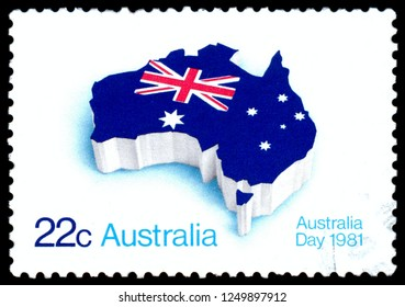MOSCOW, December 1, 2018: A stamp printed in Australia showing national signs circa 1981