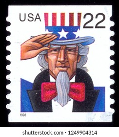 MOSCOW, December 1, 2018: A stamp printed in USA shows Uncle Sam, circa 1998