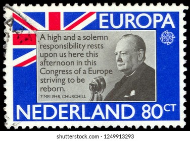 MOSCOW, December 1, 2018: A stamp printed in Netherlands shows Sir Winston Churchill, circa 1980
