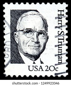 MOSCOW, December 1, 2018: A stamp printed in USA shows portrait of Harry Truman (1884-1972), a 33st President of the United States, circa 1984