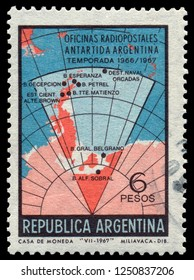 MOSCOW, December 1, 2018:  A stamp printed in Argentina, shows Argentinian research projects in the Antarctic. circa 1967