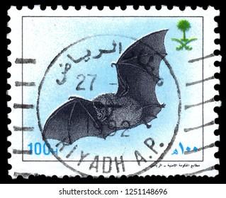 MOSCOW, December 1, 2018: A stamp printed in SAUDI ARABIA shows Bat , circa 1991
