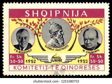 MOSCOW, December 1, 2018:  A stamp printed in Albania shows portraits of Gjergj Kastrioti, Theodore Roosevelt, Winston Churchill, circa 1952