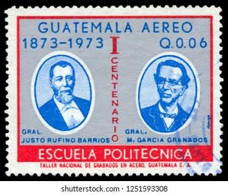 MOSCOW, December 1, 2018: A stamp printed in Guatemala shows presidents of Guatemala JUSTO RUFINO BARRIOS Y M. GARCÍA GRANADOS, circa 1973