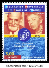 MOSCOW, December 1, 2018: a stamp printed in the France Universal Declaration of Human Rights 1948-1998, shows portraits of E. Roosevelt and R. Cassin,  circa 1998