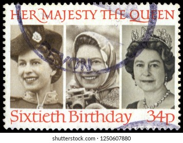 MOSCOW, December 1, 2018: A used postage stamp from the UK, celebrating the 60th Birthday of Queen Elizabeth II, circa 1986.