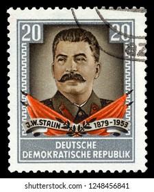 MOSCOW, December 1, 2018: A vintage postage stamp from the Deutsche Demokratische Republik (East Germany) featuring a portrait of Soviet Union leader Jospeh Stalin, circa 1950s.
