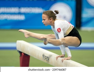 Moscow - December 16: Dejana Kuzmanovic performs routine on balance beam during International Tournament in Artistic Gymnastics Voronin Cup, in Moscow on December 16, 2014
