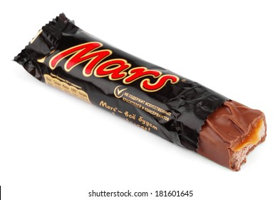 MOSCOW - DECEMBER 19, 2012: Closeup of unwrapped Mars candy chocolate bar made by Mars Inc.