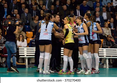 MOSCOW - DECEMBER 2: Unidentified players of Dynamo Kazan team on timeout on game Dynamo MSK vs Dynamo KZN on Russian National wemen Volleyball tournament  in Moscow, Russia, 2015