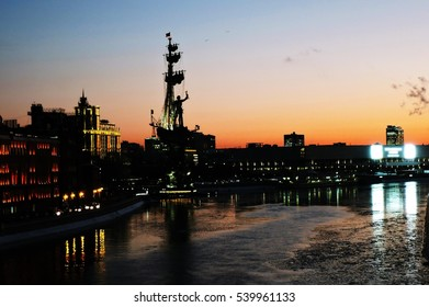 MOSCOW - DECEMBER 20, 2016: Monument to Russian emperor Peter Great (Peter First), architect Zurab Tseretely. Popular landmark. Color photo. Night view.