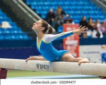 Moscow - December 20: Avigal Avrahami performs 180 degree split on balance beam during International Tournament in Artistic Gymnastics Voronin Cup, in Moscow on December 20, 2016