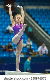 Moscow - December 21: Varvara Zubova  carries out her routine on balance beam during International Tournament in Artistic Gymnastics Voronin Cup, in Moscow on December 21, 2016