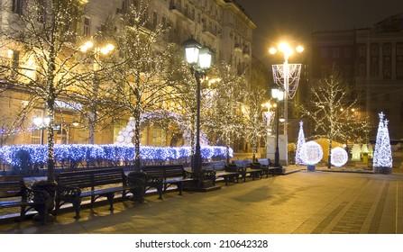 MOSCOW - DECEMBER 28, 2012: Tverskaya street illuminated for Christmas and New Year holidays.